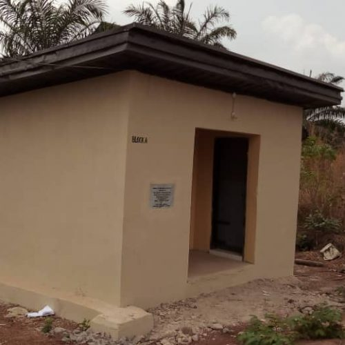 "Block A toilet facilities built (2 toilets and a washroom) at Enugu, Nigeria at the ""Independence Layout primary school 2"