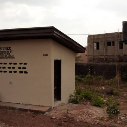 "Block B toilets facilities built (4 toilets and a washroom facility), as part of the project in Enugu, Nigeria at the ""Independence Layout primary school 2"
