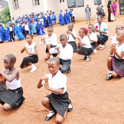 Students dancing at the inauguration ceremony of the toilet project in Enugu, Nigeria